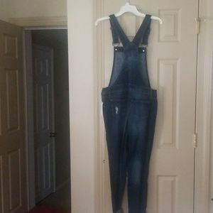 Blue Spice Jeans - Distressed dark wash denim overalls